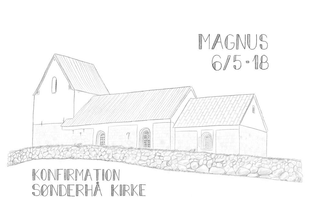 THY-plakat med Sønderhå Kirke - gjort personlig til en konfirmand