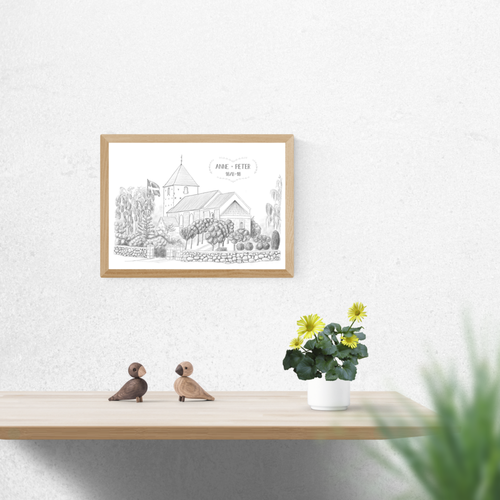 Plakat med Snedsted Kirke - gjort personlig til et brudepar
