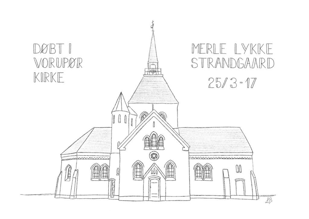 THY-plakat med Vorupør Kirke - gjort personlig til en barnedåb