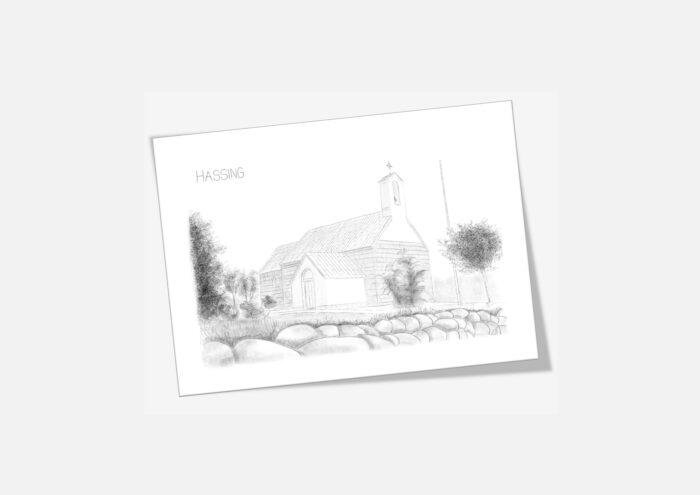 Varebillede Hassing Kirke kort