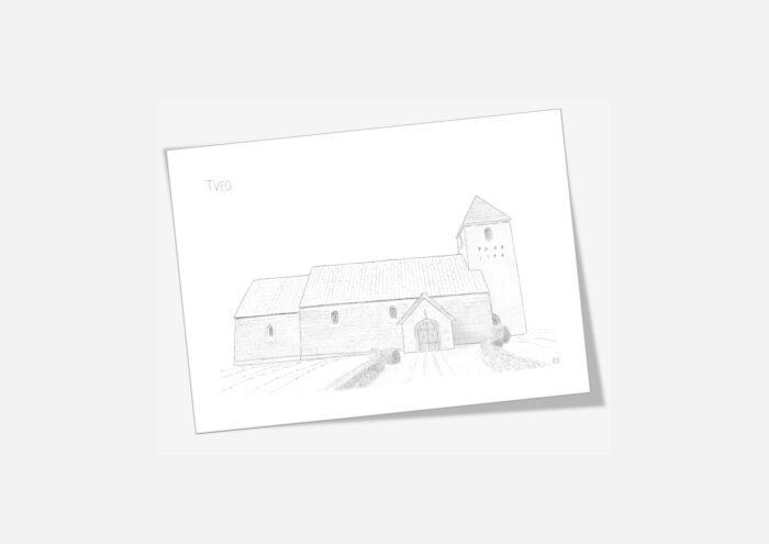 Varebillede Tved Kirke kort