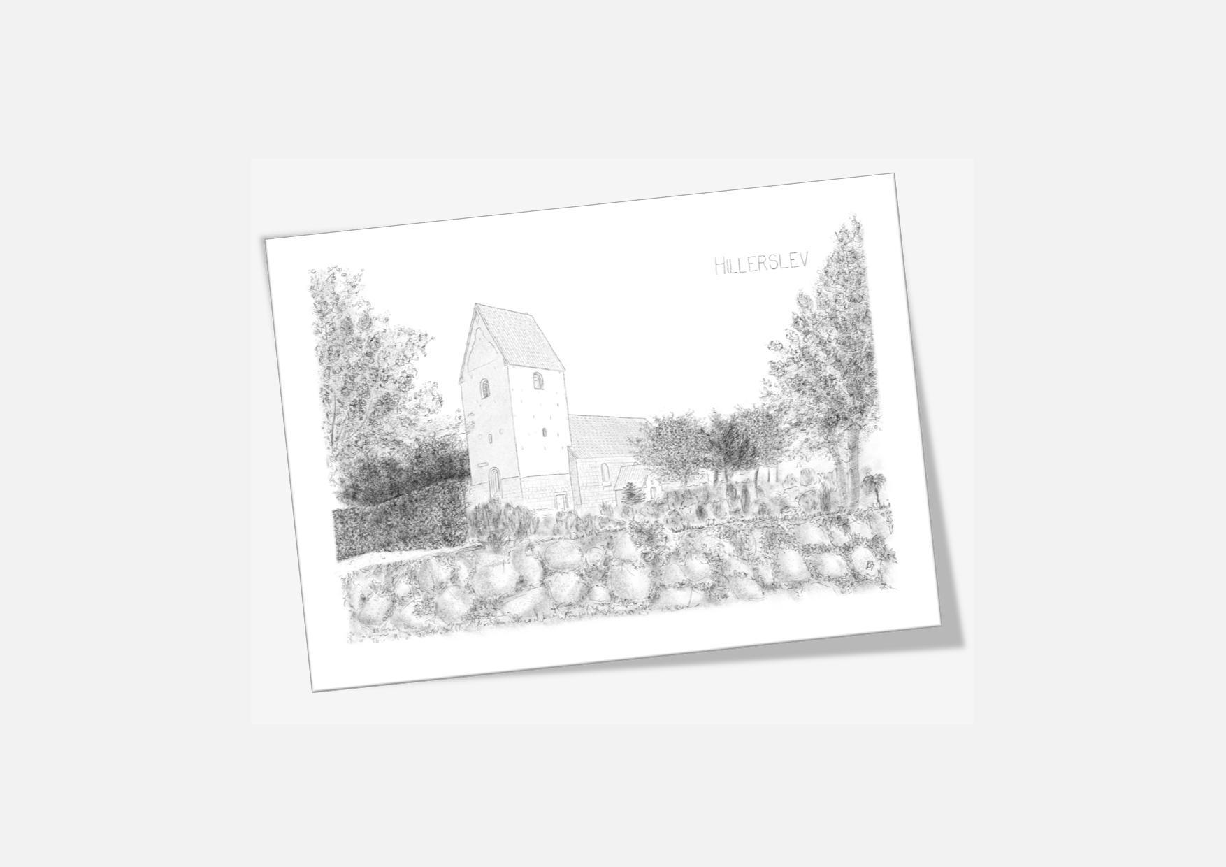 Varebillede Hillerslev Kirke kort - tegnet af Kreative Lise