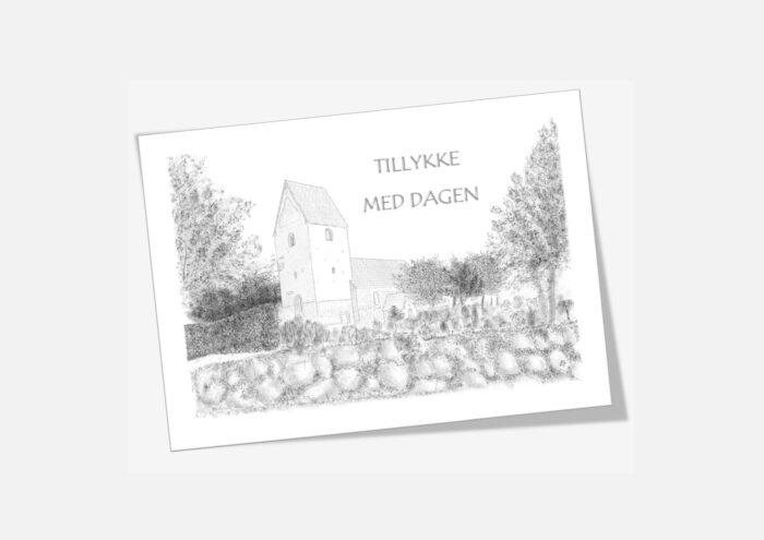 Varebillede Hillerslev Kirke telegram - tegnet af Kreative Lise