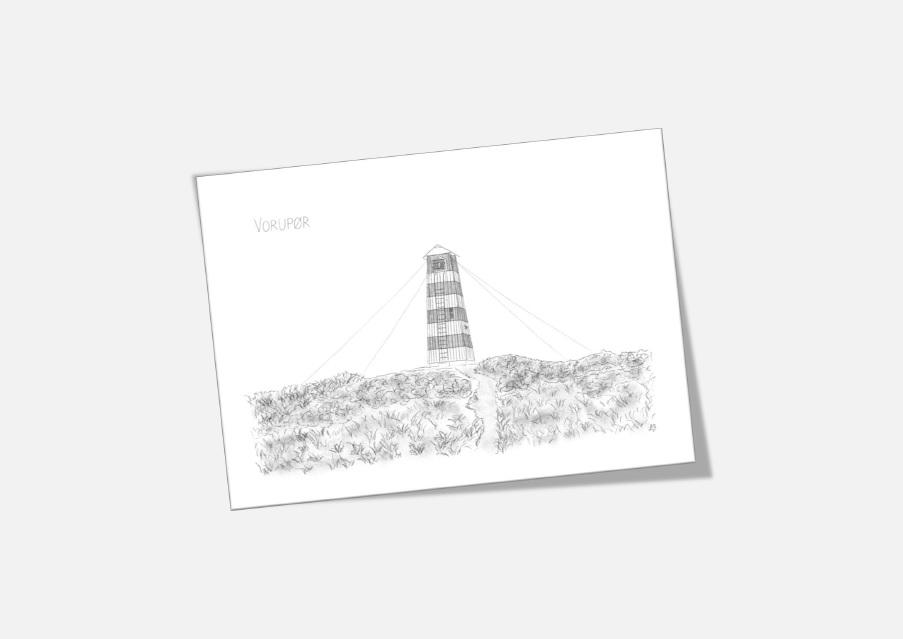 Varebillede Vorupør Overfyr kort tegnet af Kreative Lise
