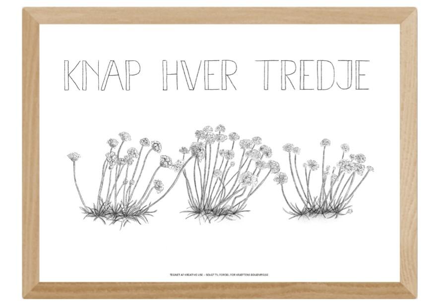 """Støt Knæk Cancer - køb plakaten """"Knap hver tredje"""" tegnet af Kreative Lise"""