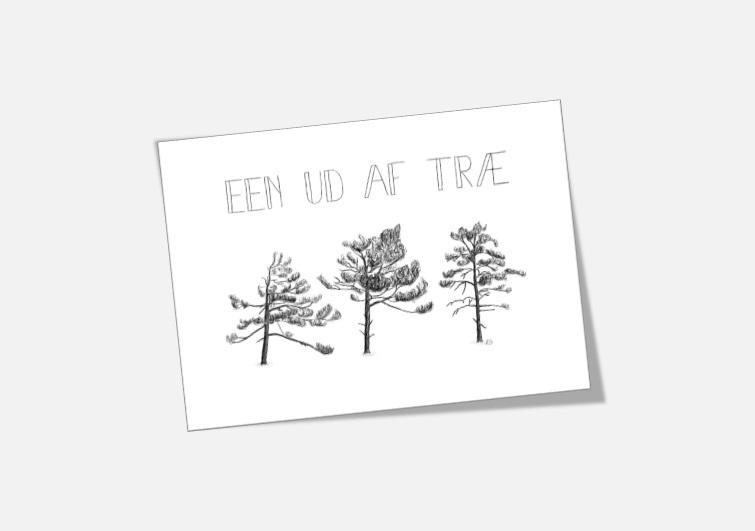 """Støt Knæk Cancer - køb kortet """"Een ud af træ"""" tegnet af Kreative Lise"""