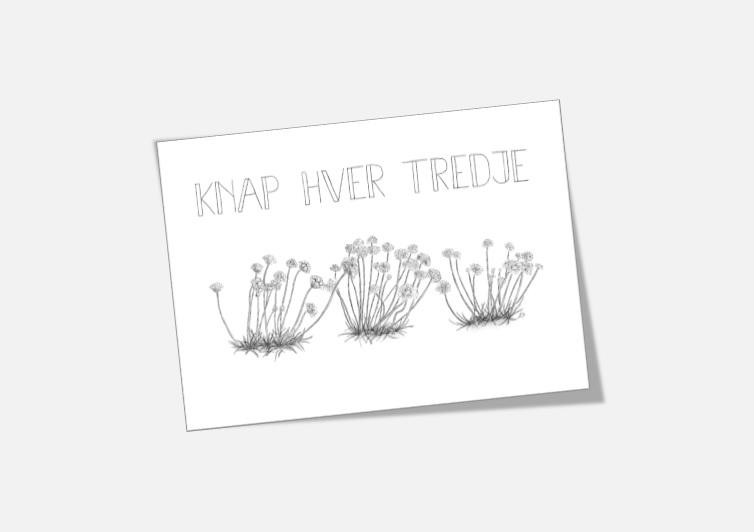 """Støt Knæk Cancer - køb kortet """"Knap hver tredje"""" tegnet af Kreative Lise"""