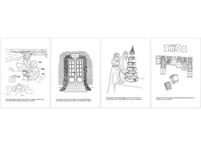De sidste 4 motiver fra malebogen for børn - alle er tegnet af Kreative Lise