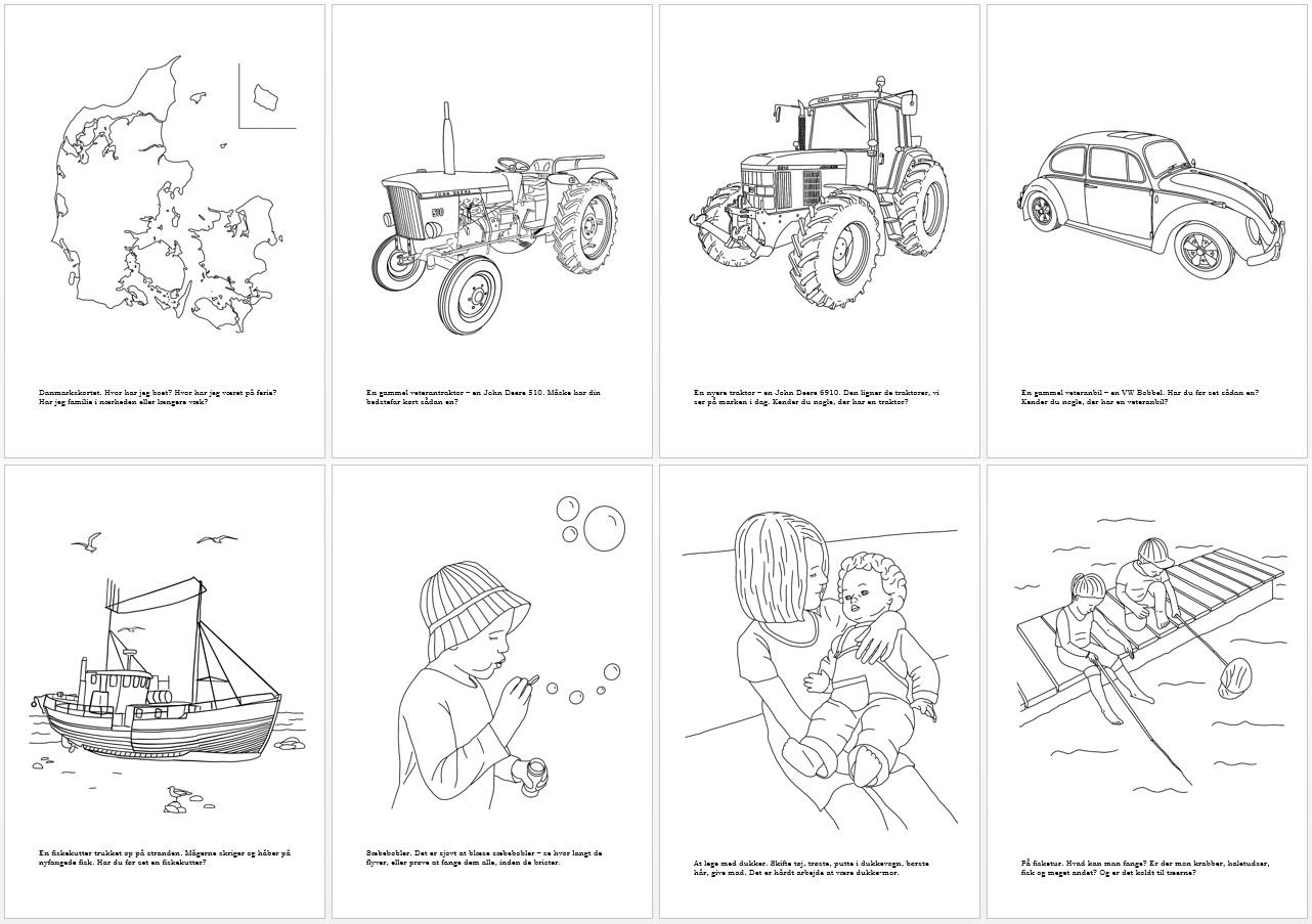 8 motiver fra malebogen for børn - alle er tegnet af Kreative Lise