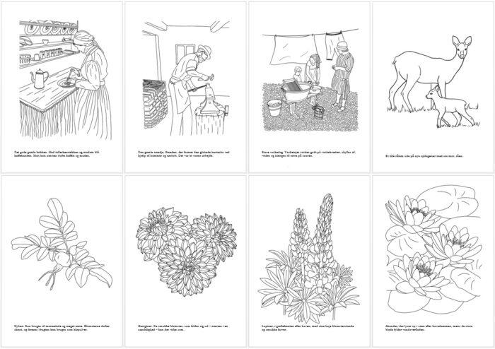 De første 8 motiver i malebogen - alle er tegnet af Kreative Lise