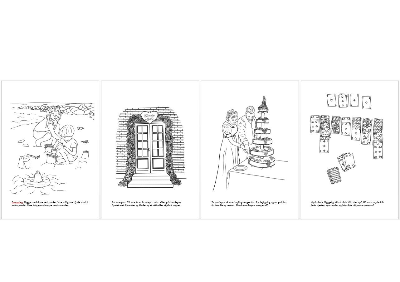 De sidste 4 motiver fra malebogen - alle er tegnet af Kreative Lise
