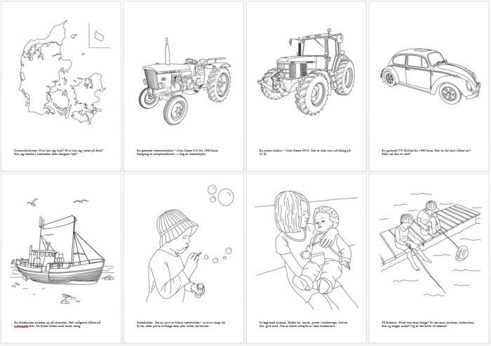 8 motiver fra malebogen - alle er tegnet af Kreative Lise