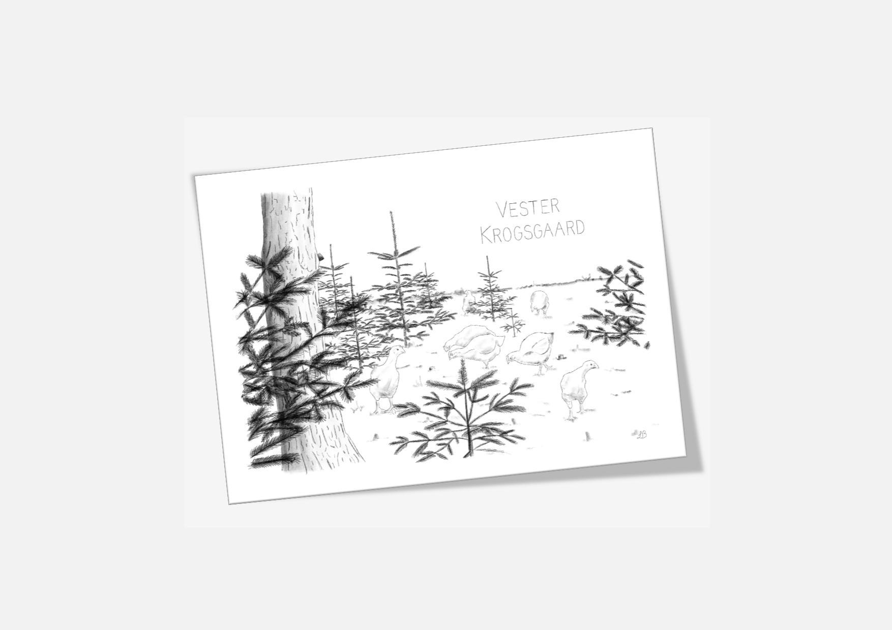 Varebillede Vester Krogsgaard kort - håndtegnet af Kreative Lise