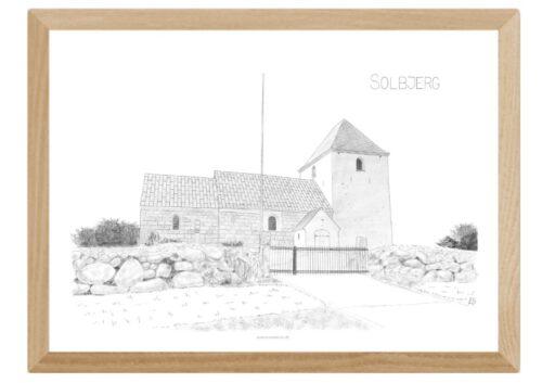 Solbjerg Kirke tegnet af Kreative Lise