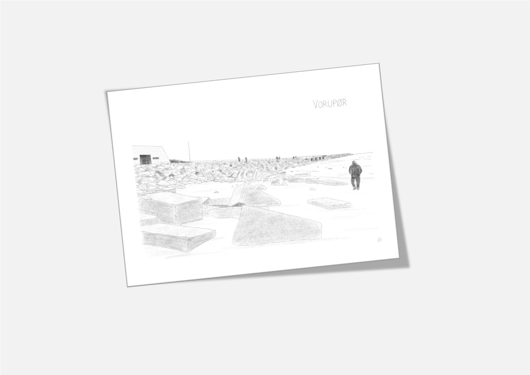 Dobbelt kort med Vorupør Mole - håndtegnet af Kreative Lise