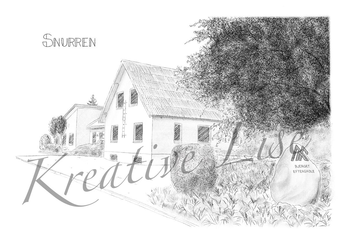 Bjerget Efterskole ved Frøstrup, Hannæs, håndtegnet af Kreative Lise. Tegningen viser 2 af elevhusene, Nørklit og Snurren. Bestil lignende tegninger på kreativelise.dk