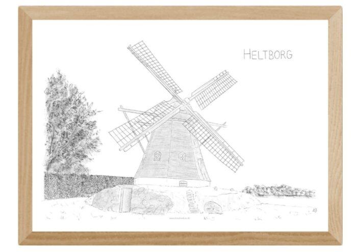 Heltborg Mølle i Thy - plakat håndtegnet af Kreative Lise