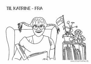 Farvelæg Katrine Bille, der læser Pippi - tegnet af Kreative Lise