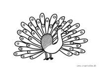 Påfugl - gratis malebogstegninger - Kreative Lise