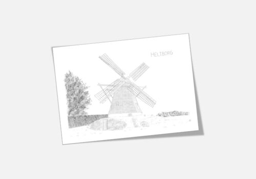 Varebillede Heltborg Mølle kort tegnet af Kreative Lise