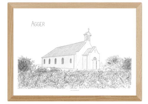 Plakater med Agger Kirke håndtegnet af Kreative Lise