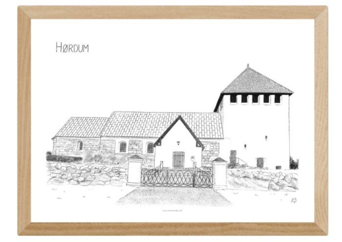 Hørdum Kirke, Thy, plakat tegnet af Kreative Lise