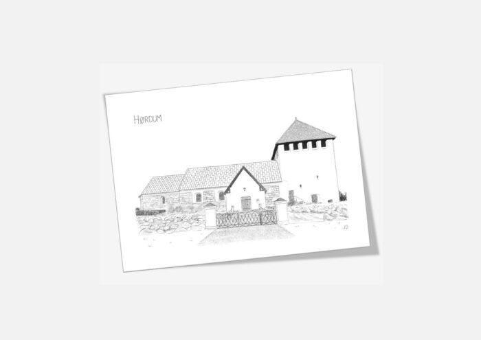 Hørdum Kirke dobbelt kort tegnet af Kreative Lise