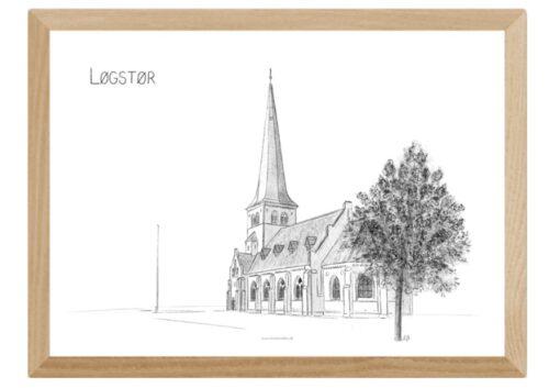 Løgstør Kirke, Himmerland, plakat tegnet af Kreative Lise