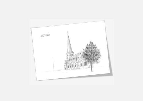 Løgstør Kirke dobbelt kort tegnet af Kreative Lise