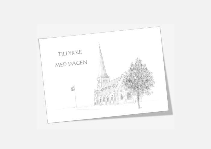 Løgstør Kirke telegram håndtegnet af Kreative Lise