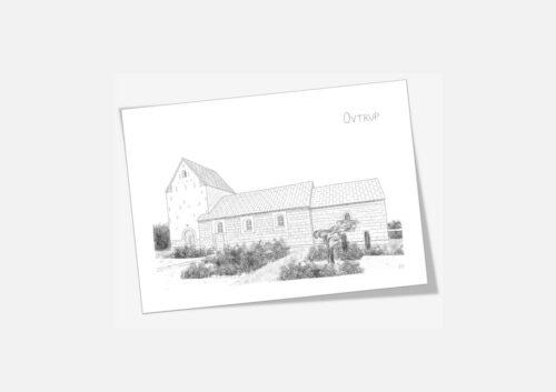 Ovtrup Kirke Mors dobbelt kort tegnet af Kreative Lise