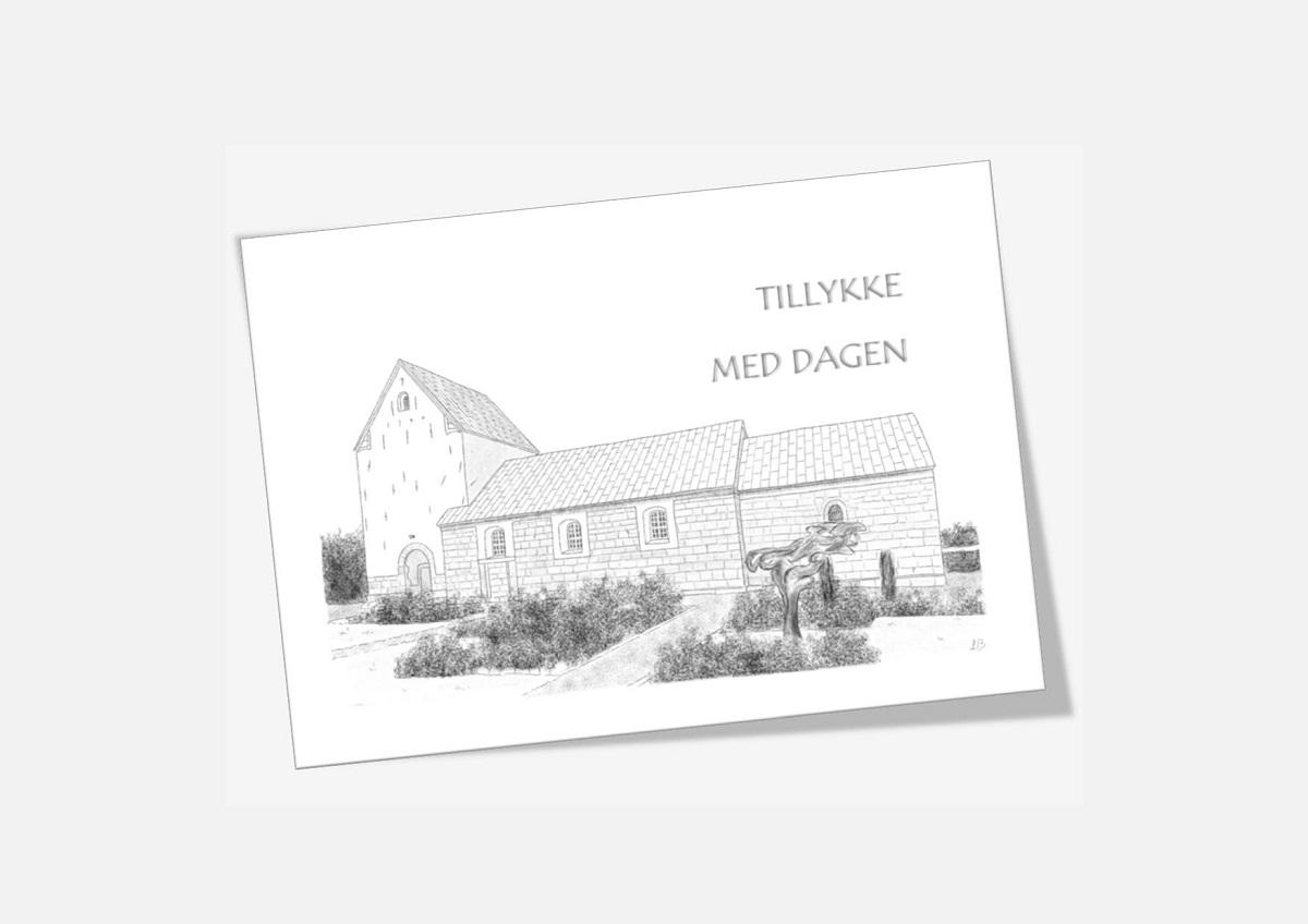 Ovtrup Kirke, Mors - telegram håndtegnet af Kreative Lise