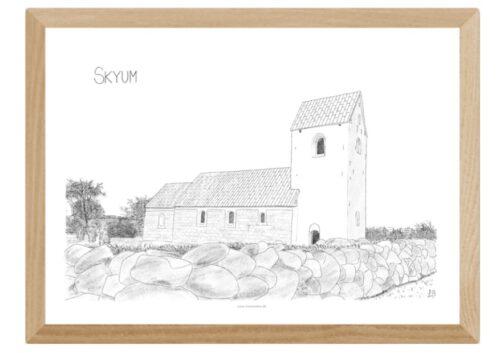 Plakat med Skyum Kirke håndtegnet af Kreative Lise