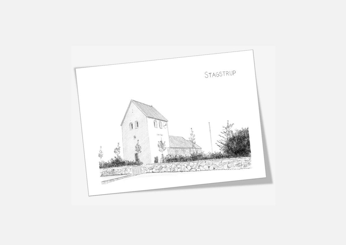 Stagstrup Kirke Thy dobbelt kort tegnet af Kreative Lise