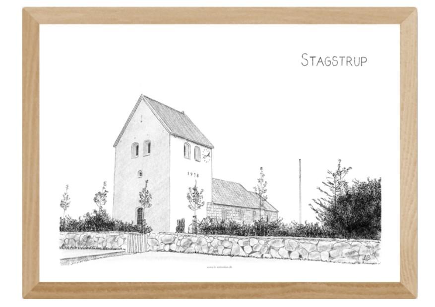 Stagstrup Kirke, Thy, plakat tegnet af Kreative Lise