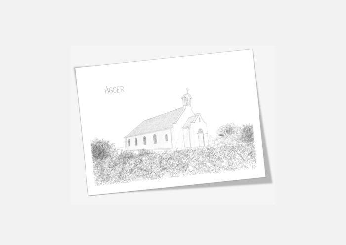 Dobbelte kort med Agger Kirke håndtegnet af Kreative Lise