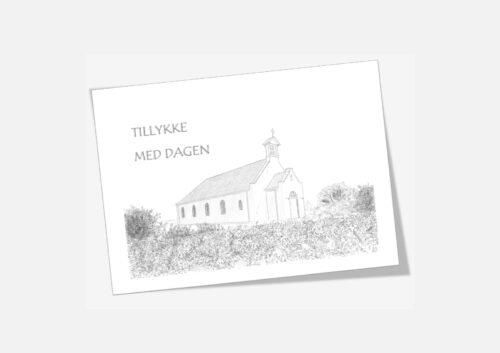 Telegram med Agger Kirke tegnet af Kreative Lise