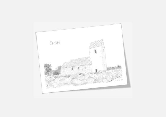 Kort med Skyum Kirke håndtegnet af Kreative Lise