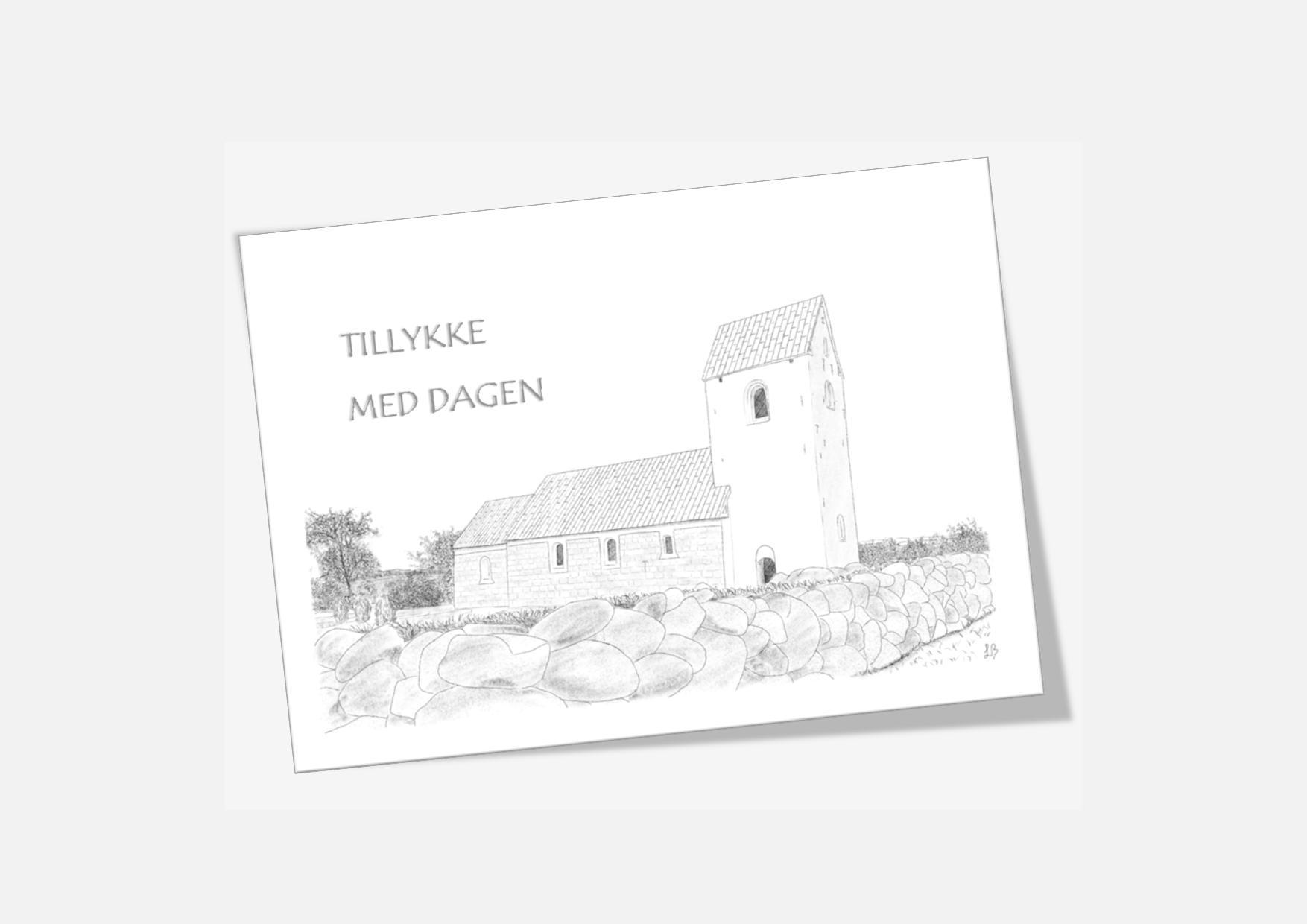Telegram med Skyum Kirke håndtegnet af Kreative Lise