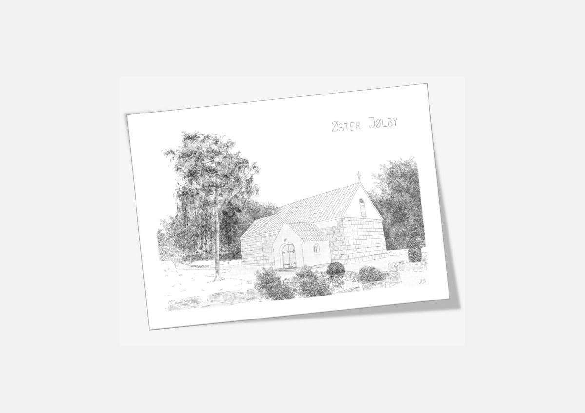 Øster Jølby Kirke Mors dobbelt kort tegnet af Kreative Lise