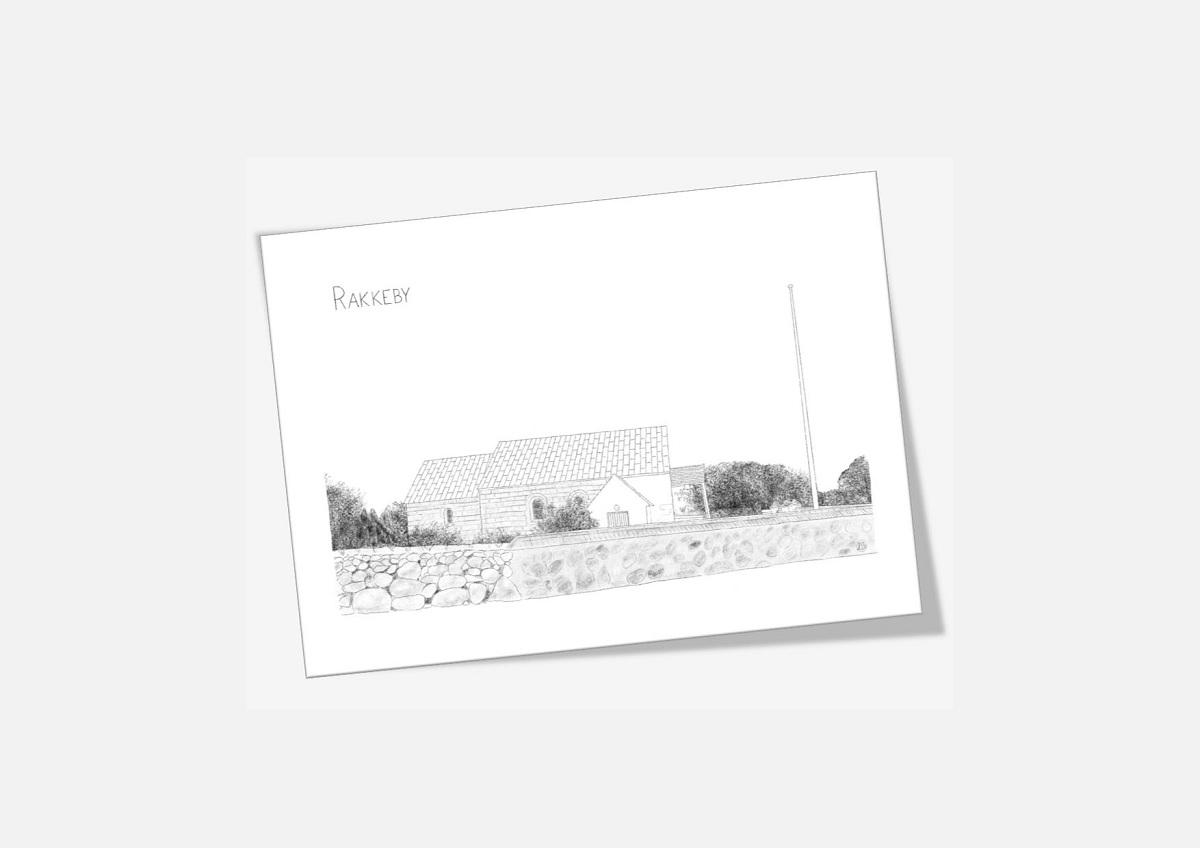 Rakkeby Kirke Mors dobbelt kort tegnet af Kreative Lise