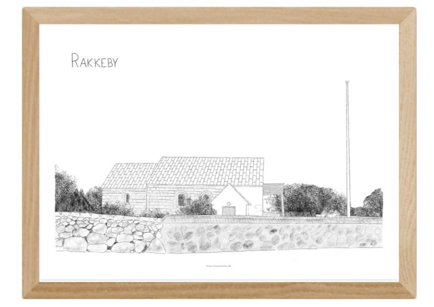 Rakkeby Kirke, Mors, plakat tegnet af Kreative Lise