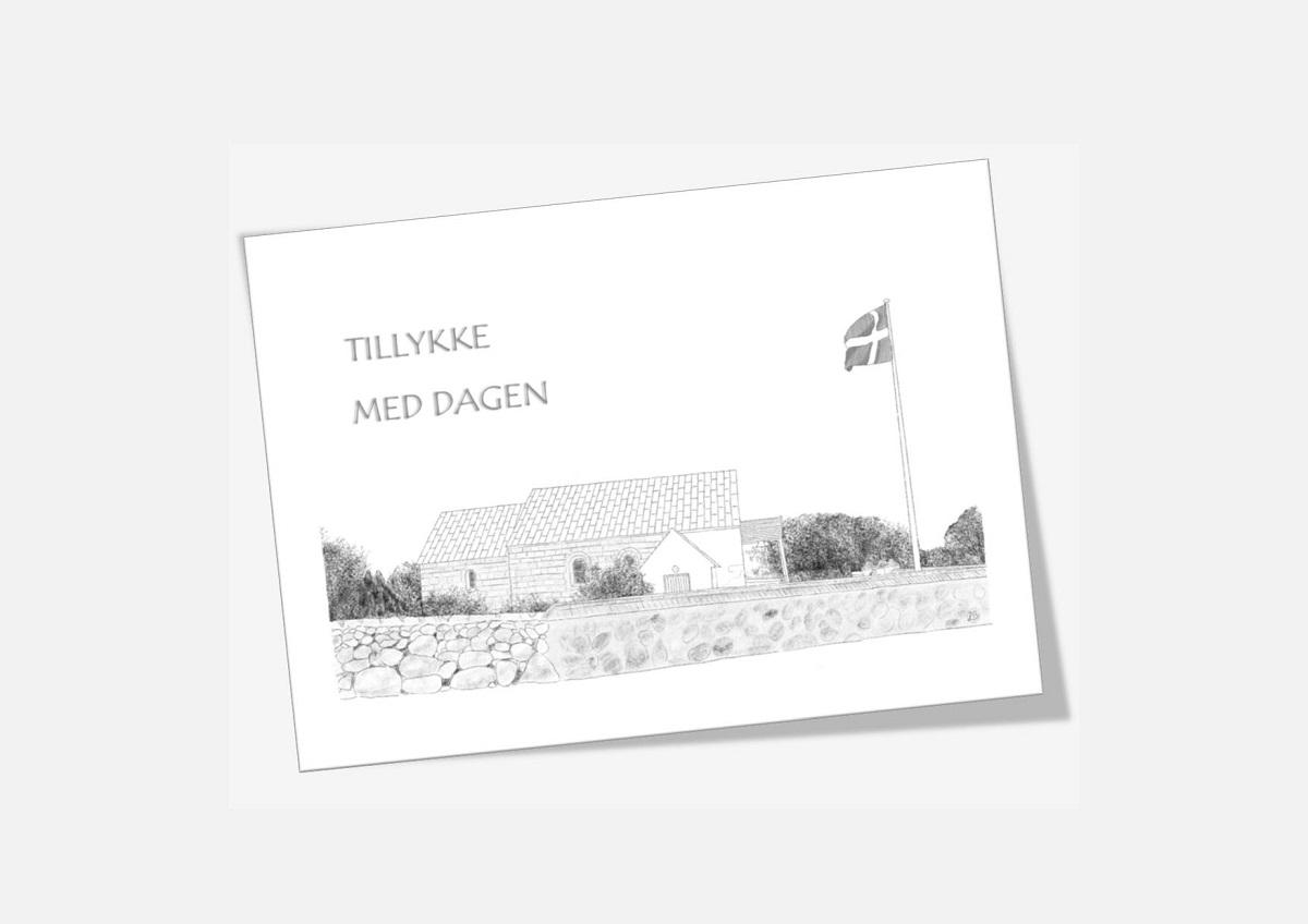 Rakkeby Kirke, Mors, telegram, håndtegnet af Kreative Lise