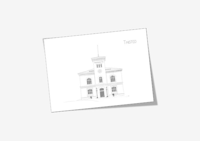 Den gamle toldbod, Thisted, dobbelt kort, tegnet af Kreative Lise