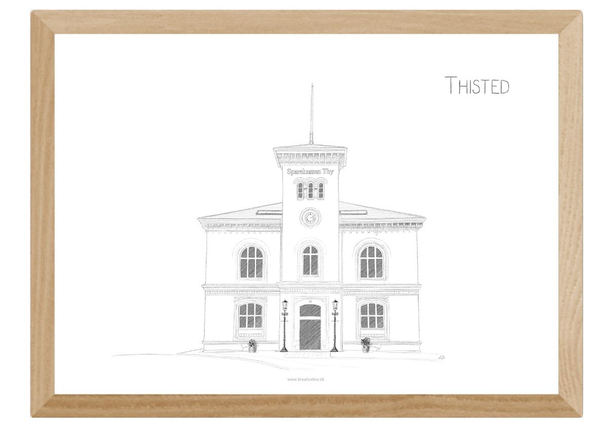 Den gamle toldbod i Thisted, plakat tegnet af Kreative Lise