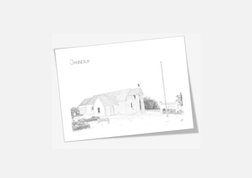 Jannerup Kirke, dobbelt kort, håndtegnet af Kreative Lise