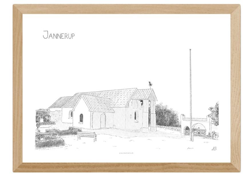 Jannerup Kirke håndtegnet af Kreative Lise