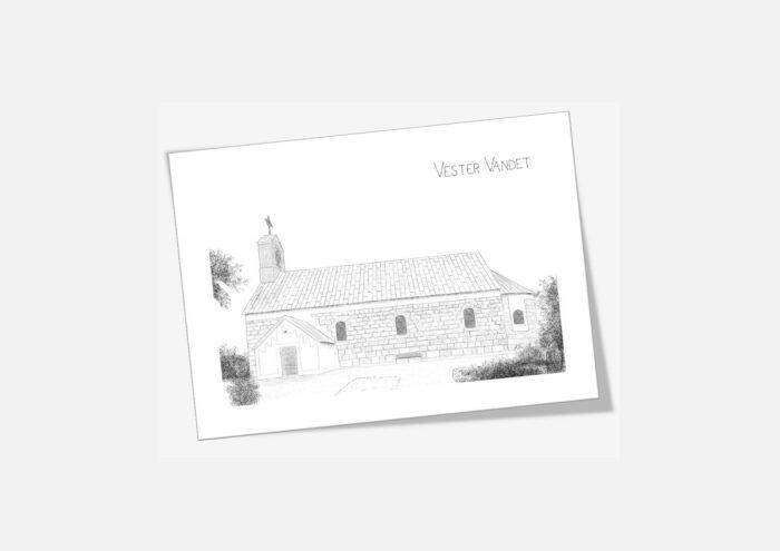 Vester Vandet Kirke, dobbelt kort, håndtegnet af Kreative Lise
