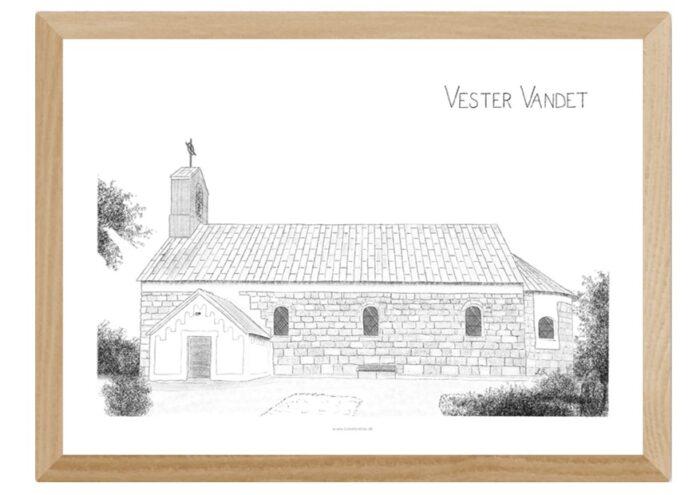 Vester Vandet Kirke håndtegnet af Kreative Lise