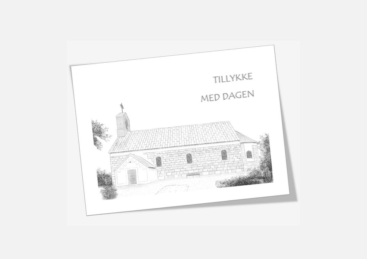 Vester Vandet Kirke telegram håndtegnet af Kreative Lise